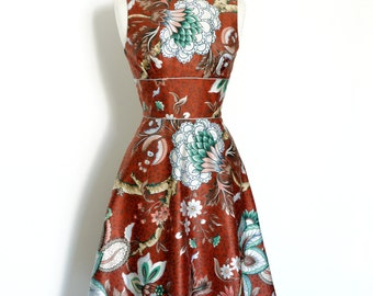 UK Size 12, Madras Enchanted Floral Print Cotton Dress with A-Line Skirt - Made by Dig For Victory R.T.S