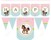 Horse Cute Pony Baby Horse Pink Green  Printable Party Banner  - Instant Download