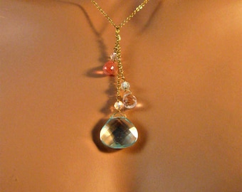 Sale - Multi-colored crystal and gold chain necklace,crystal necklace,gold necklace,necklace