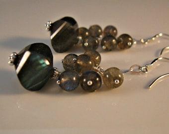 Gemstone Cluster Earrings,Labradorite earrings,silver earrings, gemstone earrings, dangle earrings, drop earrings, gemstones,earrings
