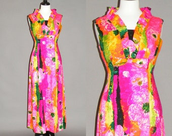 Vintage 1970s Hawaiian Maxi Dress, 70s Dress, Mildred's of Hawaii Tropical Party Dress Medium