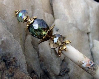 Single Traditional Style Green Glass Hair Stick - Champagne and Purple Crystals Hair Accessories - Katina
