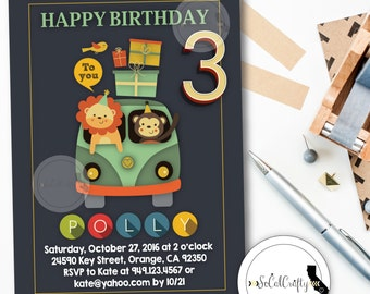 Animal Birthday Party Invitation, Zoo Invitation, Safari, Lion, Monkey, Party Animals, Printed or Printable Invitations, Free Shipping