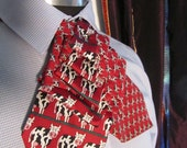 Unisex upcycled Steinkirk, red COWS, steampunk, Victorian spin on your everyday tie