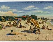Clearwater Beach Scene Crowd Florida 1947 linen postcard