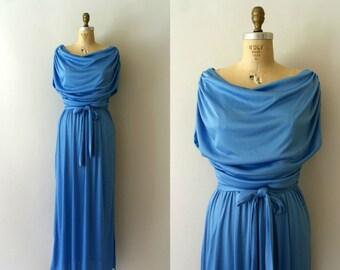 1970s Vintage Dress - 70s Sky Blue Grecian Maxi Dress - Mykonos