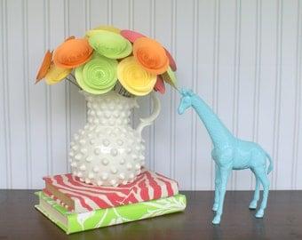 Paper Flowers in Tropical Colors; Vibrant Centerpiece with Medium Paper Flowers; Tropical Punch Table Centerpiece; Tropical Decor