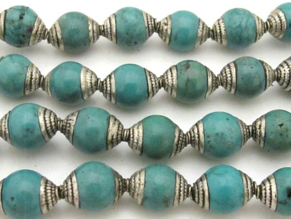 4 BEADS - Ethnic Tibetan silver capped turquoise beads from Nepal 9 - 10 mm x 13 -14 mm - BD780