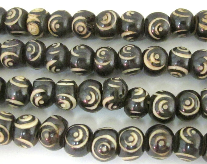 10 beads - 10 mm Black Brown color Tibetan eye prayer mala bone beads  - HB057z