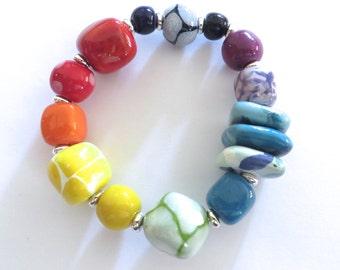 Beaded Bracelet, Kazuri Bangle, Fair Trade, Ceramic Jewellery,  Rainbow Coloured Bracelet