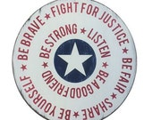 Superhero Rules Shield- Hand Painted Vintage Inspired Round Sign