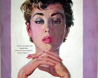 1955 Artist Illustration Magazine Page, Sassy Lady, Artist Coby Whitmore, Double Sided  Page, The Lark Shall Sing,  Artist Joe Lee Mers
