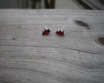 Faceted Marquise Garnet Stud Earrings 8x4