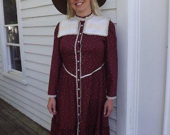 Prairie Dress Vintage 70s Dark Red Floral Country Print L XL
