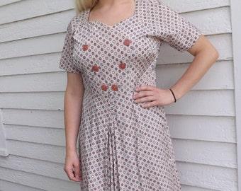 50s Pink Print Dress Floral 1950s Plus XL XXL Vintage 42 Bust 35 Waist
