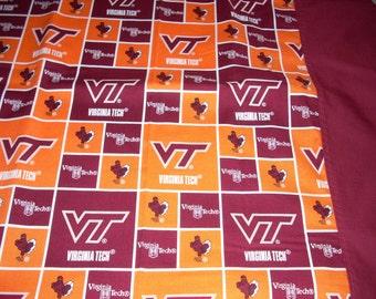 Virginia Tech blocks-  Pillowcase with burgundy trim  - Fits Standard and Queen size pillows