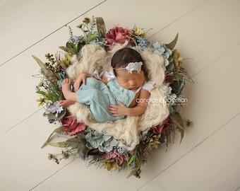 Newborn Baby Photo Prop Organic Nest Fluff Basket Stuffer Jute Burlap Texture Basket Filler Baby Photography Prop