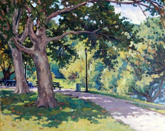 Summer Shade, New York City. Realist Oil on Canvas, 16x20 NYC Impressionist Plein Air Fine Art, Signed Original Oil Painting Landscape