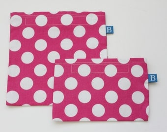 Reuseable Eco-Friendly Set of Snack and Sandwich Bags in Hot Pink and White Polka Dotted Fabric