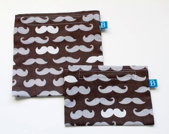 Reuseable Eco-Friendly Set of Snack and Sandwich Bags in Mustache Fabric