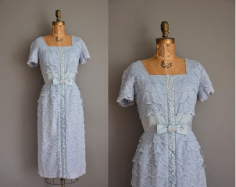vintage 1950s dress / blue satin lace party dress / 50s wiggle dress