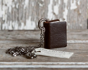 Mini Leather Book Necklace Chocolate, Upcycled Jewelry, Notebook, Sketchbook, Journal, Miniature, Book Jewelry, Book Charm, Book Pendant