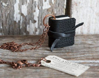 Book Necklace: Cobbler's Black by Peg and Awl