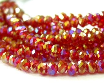 "6"" Red Ab 4mm x 3mm designer crystal rondelle Beads faceted glass"