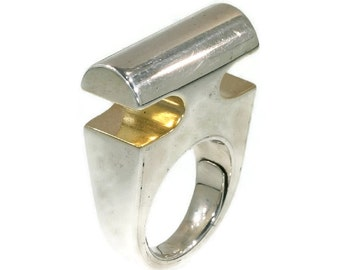 Modern Silver and Gold Ring by Chris Steenbergen