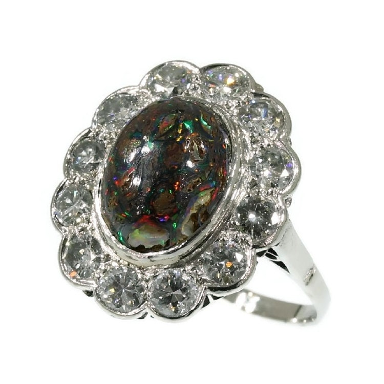 Black Opal Ring vintage engagement ring by adinantiquejewellery