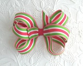 Boutique Hair Bow for Toddlers, Girls ~ Large, Preppy, Pink and Green Striped Bow
