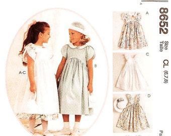 Sz 6/7/8 - Girls' Dress Pattern McCall's 8652 -  Girls' Tulip Sleeve Dress, Pinafore, Hankie and Hatband - KITTY BENTON Gourmet Sewing