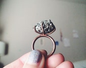 Pyrite + Copper statement ring 6.5 6 1/2