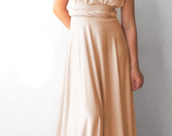 Convertible/Infinity Dress - champagne color  floor length dress Multiway Dress