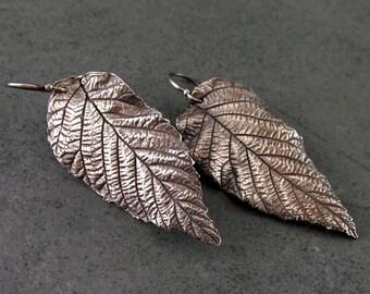 Large silver leaf earrings, handmade eco friendly fine silver leaves-OOAK
