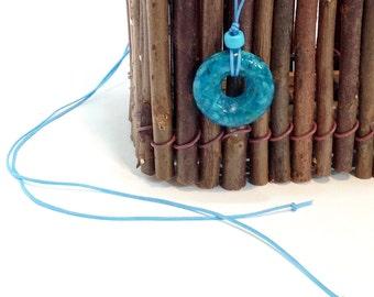 Handmade Pendant, Stocking Stuffer,  Turquoise, Donut Focal Bead,  OOAK, Custom Colors, Turquoise, Fused Glass Necklace OOAK