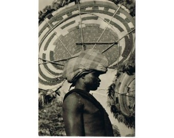 Vintage West Africa Postcard - Guinea - Man with Headdress - Ethnical