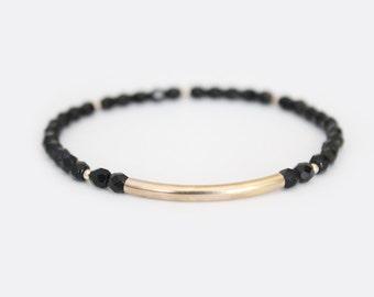 Jet Black Beaded Bar Bracelet - Gold Filled or Sterling Silver - Nuelle