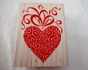 All Night Media rubber stamp mounted on wood - heart, fancy, 190H