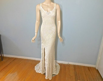 Vintage Inspired Boho Wedding Gown FRONT Slit Lace Wedding Dress SIMPLE Wedding Dress Backless Wedding Gown Sz MEDIUM