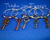 Antique Keys Wine Glass Charms (Bronze/Silver/Colors)