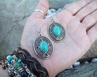 Southwestern Boho Silver Dangle earrings with Blue Turquoise gemstones, Boho Earrings, Gypsy Earrings,