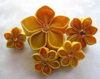 Hellow Yellow Kanzashi Flower Bobby Pin Set