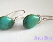 Southwestern Tear Turquoise Glass Earrings