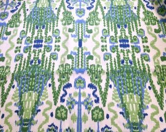 Blue Green Ikat Woven Fabric Yardage Woven