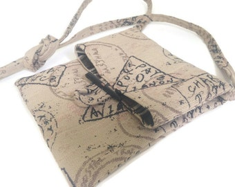 Small Shoulder Bag Essentials Beige Upholstery Fabric Postage Stamp Handbag Sac Lined Travel Passport Purse Easy to Carry