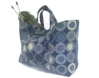 Knitting  Project Bag Blue Geometric Upholstery Bag Fully Lined Inside Pocket Button Closure Large Size Tote Bag Travel Bag