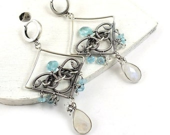 Wire wrap chandelier earring, gemstone fine jewelry , sterling silver earring