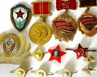 Soviet Vintage Badges Pins Awards Medals Set of 13 Soviet Army and Work Service Insignia from Russia Soviet Union USSR