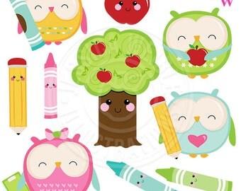 Kawaii School Owls Cute Digital Clipart, Cute Owl Clipart, Owl Clip Art, Scrapbook owls, Kawaii graphics, Cute School Clipart, School Owl